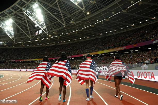 Quanera Hayes, Allyson Felix, Shakima Wimbley and Phyllis Francis of the United States celebrate winning gold in the Women's 4x400 Metres Relay final...