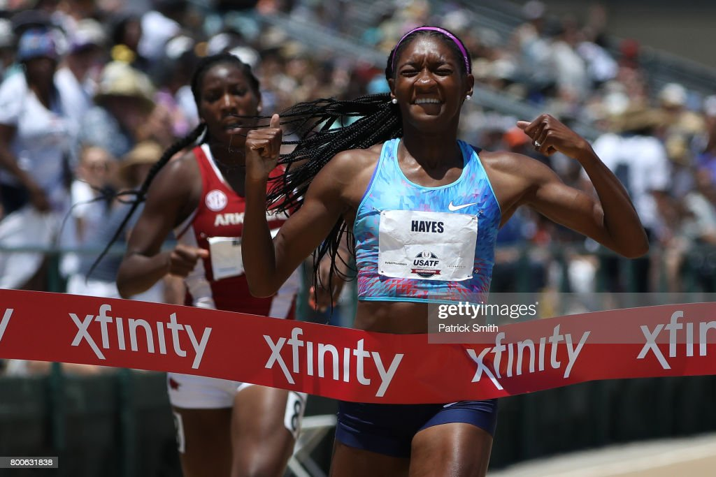 Quanera Hayes wins the Women's 400m Final during Day 3 of the 2017 USA Track & Field Outdoor Championships at Hornet Stadium on June 24, 2017 in Sacramento, California.