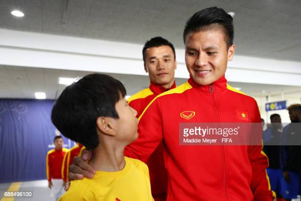 Quang Hai Nguyen of Vietnam in the tunnel with a player escort before the FIFA U20 World Cup Korea Republic 2017 group E match between France and...