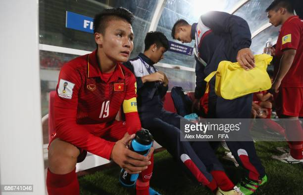 Quang Hai Nguyen of Vietnam sits on the bench after the FIFA U20 World Cup Korea Republic 2017 group E match between Vietnam and New Zealand at...