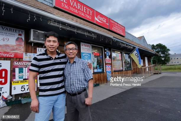 Quang Nguyen a Vietnamese immigrant Southern Maine Community College graduate and business owner with his uncle Anthony Le in front of Le Variety in...