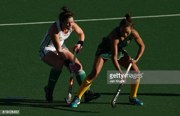 Quanita Bobbs of South Africa battles with Roisin Upton of Ireland during the 5th/ 8th place playoff match between South Africa and Ireland at Wits...