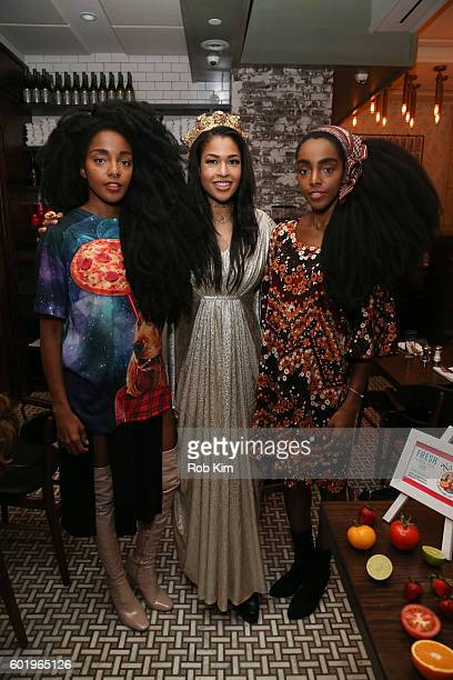 TK Quann Kali Hawk and Cipriana Quann attend the New York Fashion Week Brunch with Kali Hawk and Natalie Zfat at Trademark Restaurant on September 10...