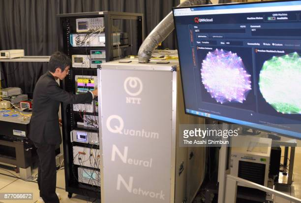 A quantum computer prototype developed by the National Institute of Informatics Nippon Telegraph and Telephone Corp and others is displayed on...