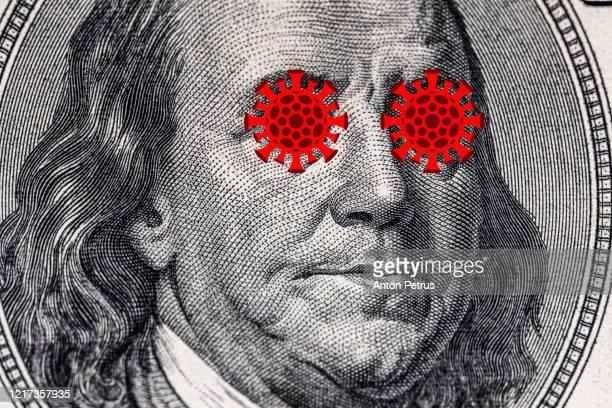 us quarantine, 100 dollar banknote coronavirus. the concept of pandemic and economic decline - président photos et images de collection