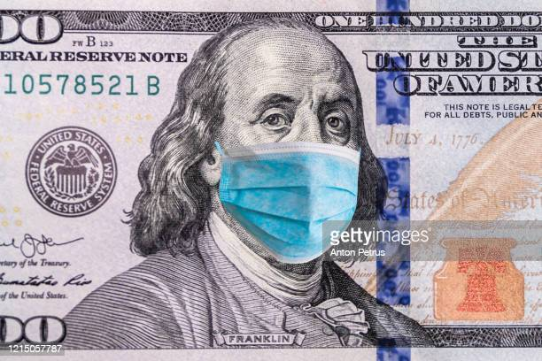 us quarantine, 100 dollar banknote with medical mask. the concept of epidemic and protection against coronavrius. - pathogen stock pictures, royalty-free photos & images