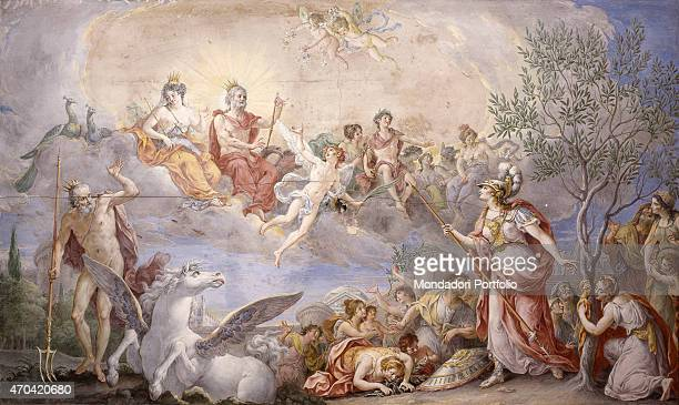 Quarrel Between Athena and Poseidon by Giambattista Mengardi 18th Century fresco Italy Veneto Venice Palazzo Priuli Manfrin Whole artwork view Scene...