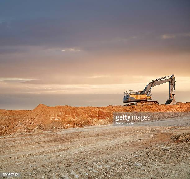 quarry landscape - earth mover stock pictures, royalty-free photos & images