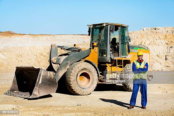 Quarry worker standing at construction site
