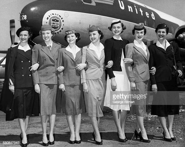 Quarter century of fight fashions Uniforms worn in the 25 years since sky girls first went aloft are modeled by United Airlines stewardesses They are...