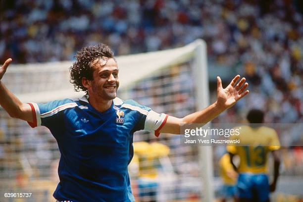 Quarter final of the 1986 FIFA Soccer World Cup France vs Brazil France won 43 after penalties Michel Platini celebrates scoring a goal