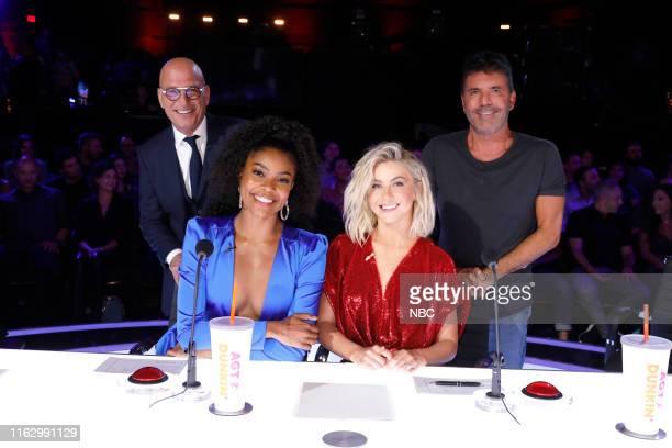 S GOT TALENT Quarter Finals 2 Episode 1414 Pictured Howie Mandel Gabrielle Union Julianne Hough Simon Cowell