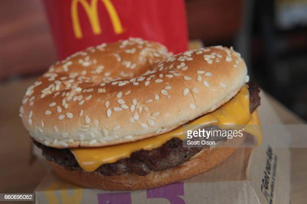 Quarter Pounder hamburger is served at a McDonald's restaurant on March 30 2017 in Effingham Illinois McDonald's announced today that it will start...