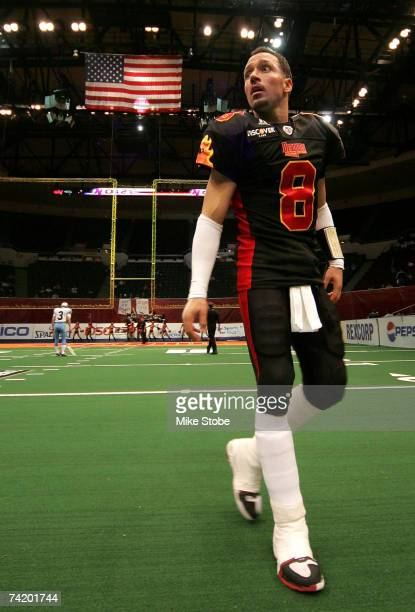 Quarterback Aaron Garcia of the New York Dragons looks on prior to their game against the Kansas City Brigade on May 20 2007 at the Nassau Coliseum...