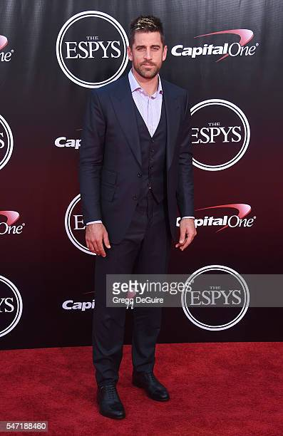 NFL quarterback Aaron Rodgers arrives at The 2016 ESPYS at Microsoft Theater on July 13 2016 in Los Angeles California