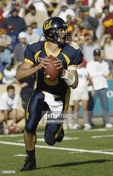 Quarterback Aaron Rodgers of the California Golden Bears looks for an open man during the game against the USC Trojans at Memorial Stadium on...