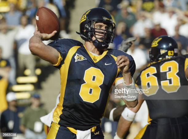 Quarterback Aaron Rodgers of the California Golden Bears makes the pass during the game against the USC Trojans at Memorial Stadium on September 27,...
