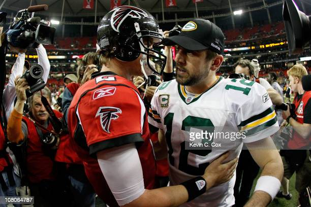 Quarterback Aaron Rodgers of the Green Bay Packers is congratulated by Matt Ryan of the Atlanta Falcons after the Packers won 4821 during their 2011...
