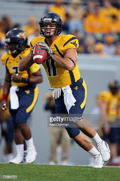 Quarterback Adam Bednarik of the West Virginia University Mountaineers runs with the ball against the Mississippi State Bulldogs on October 20 2007...