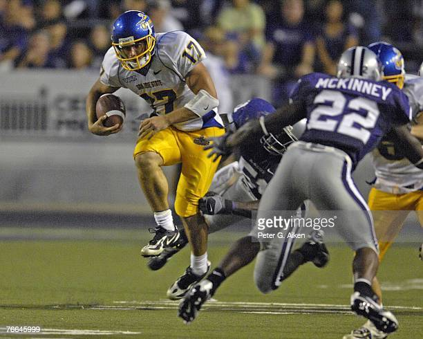 Quarterback Adam Tafralis of the San Jose State Spartans during a NCAA football game against the Kansas State Wildcats on September 8 2007 at Bill...