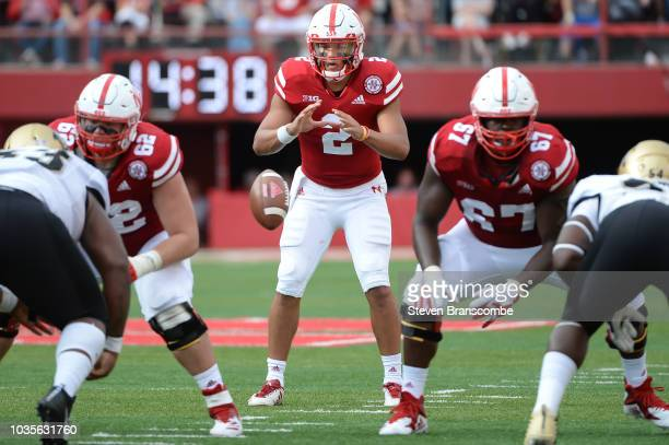 Quarterback Adrian Martinez of the Nebraska Cornhuskers awaits a snap during the game against the Colorado Buffaloes at Memorial Stadium on September...