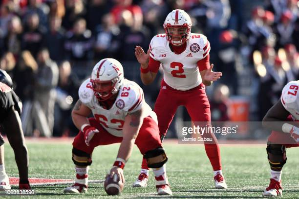 Quarterback Adrian Martinez of the Nebraska Cornhuskers calls signals against the Ohio State Buckeyes at Ohio Stadium on November 3 2018 in Columbus...