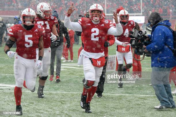 Quarterback Adrian Martinez of the Nebraska Cornhuskers celebrates the win against the Michigan State Spartans at Memorial Stadium on November 17...