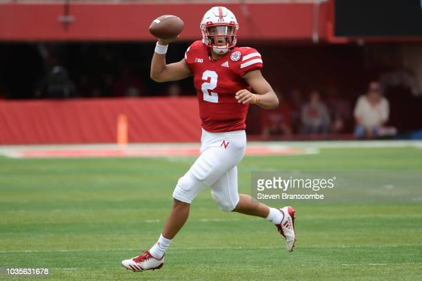 Quarterback Adrian Martinez of the Nebraska Cornhuskers looks to pass against the Colorado Buffaloes at Memorial Stadium on September 8 2018 in...