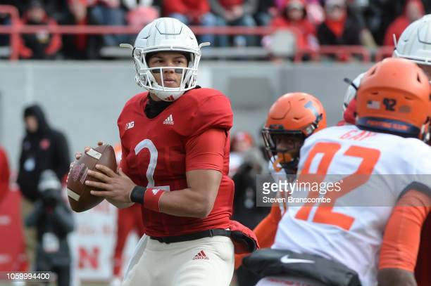 Quarterback Adrian Martinez of the Nebraska Cornhuskers looks to pass against the Illinois Fighting Illini in the first half at Memorial Stadium on...