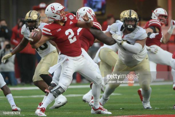 Quarterback Adrian Martinez of the Nebraska Cornhuskers passes against the Purdue Boilermakers in the second half at Memorial Stadium on September 29...