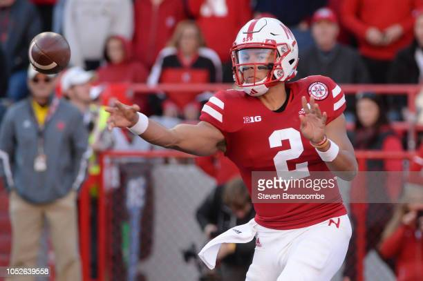 Quarterback Adrian Martinez of the Nebraska Cornhuskers passes against the Minnesota Golden Gophers in the second half at Memorial Stadium on October...