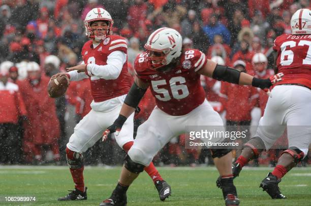 Quarterback Adrian Martinez of the Nebraska Cornhuskers passes against the Michigan State Spartans in the second half at Memorial Stadium on November...