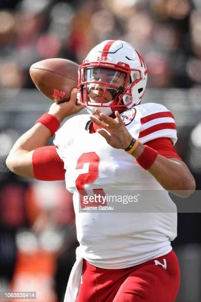 Quarterback Adrian Martinez of the Nebraska Cornhuskers passes against the Ohio State Buckeyes at Ohio Stadium on November 3 2018 in Columbus Ohio