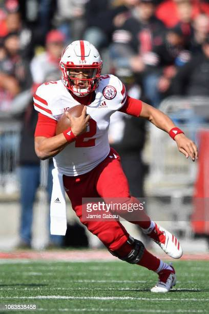 Quarterback Adrian Martinez of the Nebraska Cornhuskers runs with the ball against the Ohio State Buckeyes at Ohio Stadium on November 3 2018 in...
