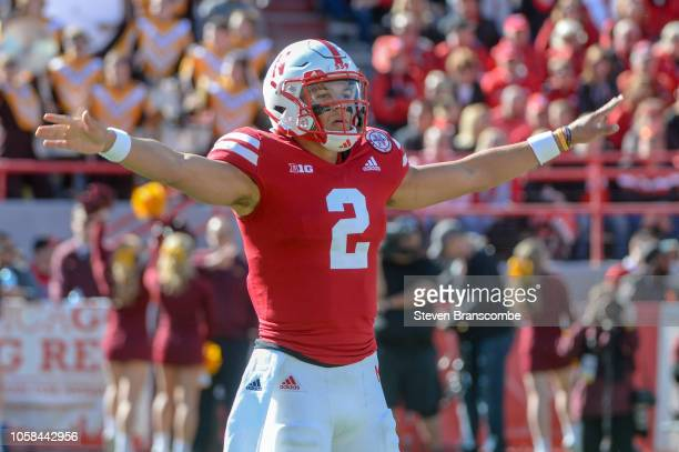 Quarterback Adrian Martinez of the Nebraska Cornhuskers signals the team in the game against the Minnesota Golden Gophers at Memorial Stadium on...