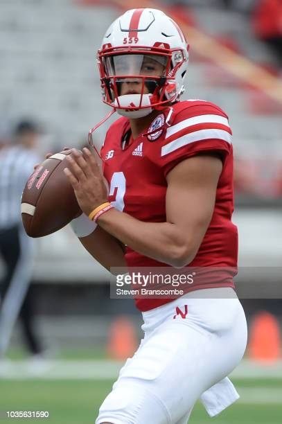Quarterback Adrian Martinez of the Nebraska Cornhuskers warms up before the game against the Colorado Buffaloes at Memorial Stadium on September 8...