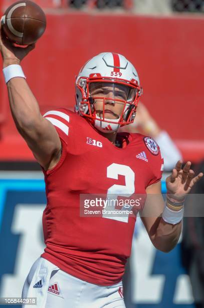 Quarterback Adrian Martinez of the Nebraska Cornhuskers warms up before the game against the Minnesota Golden Gophers at Memorial Stadium on October...