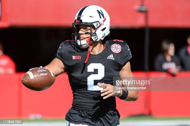Quarterback Adrian Martinez of the Nebraska Cornhuskers warms up before the game against the Indiana Hoosiers at Memorial Stadium on October 26 2019...