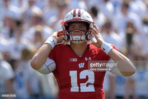 Quarterback Alex Hornibrook of the Wisconsin Badgers looks on during a game against the BYU Cougars at LaVell Edwards Stadium on September 16 2017 in...