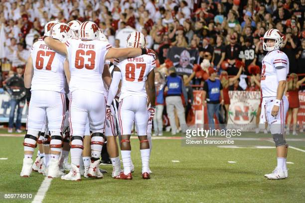 Quarterback Alex Hornibrook of the Wisconsin Badgers looks to the bench before a play against the Nebraska Cornhuskers at Memorial Stadium on October...
