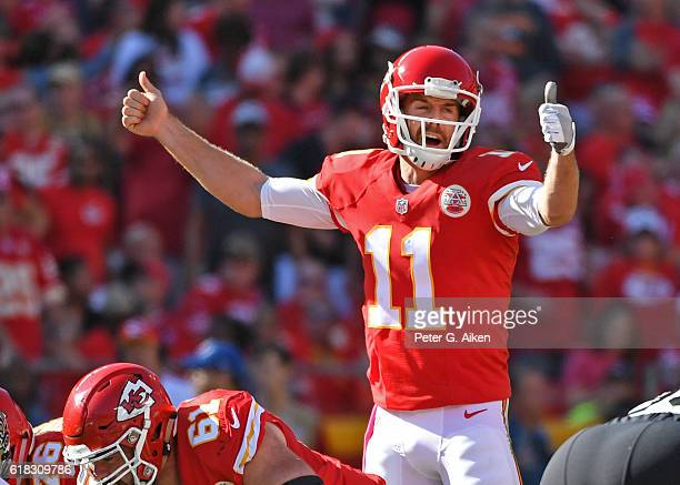 Quarterback Alex Smith of the Kansas City Chiefs calls out a play against the New Orleans Saints during the second half on October 23 2016 at...