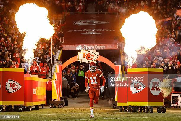 Quarterback Alex Smith of the Kansas City Chiefs enters the field during player introductions before the game against the Oakland Raiders at...