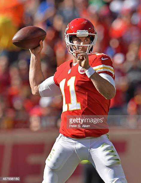 Quarterback Alex Smith of the Kansas City Chiefs makes a pass down field against the St Louis Rams during the first half on October 26 2014 at...