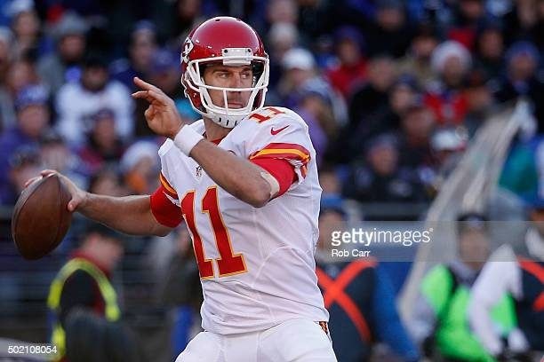 Quarterback Alex Smith of the Kansas City Chiefs throws a first half pass against against the Baltimore Ravens at MT Bank Stadium on December 20 2015...