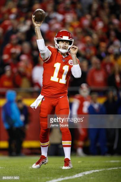 Quarterback Alex Smith of the Kansas City Chiefs throws a pass in the first quarter of the game against the Los Angleles Chargers at Arrowhead...