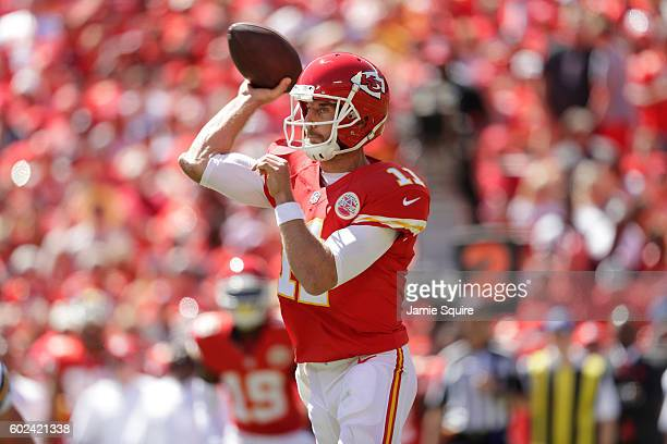 Quarterback Alex Smith of the Kansas City Chiefs throws a pass against the San Diego Chargers during the first quarter at Arrowhead Stadium on...