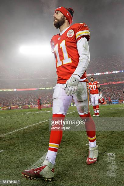 Quarterback Alex Smith of the Kansas City Chiefs walks of the field after being defeated by the Pittsburgh Steelers with a score of 18 to 16 in the...