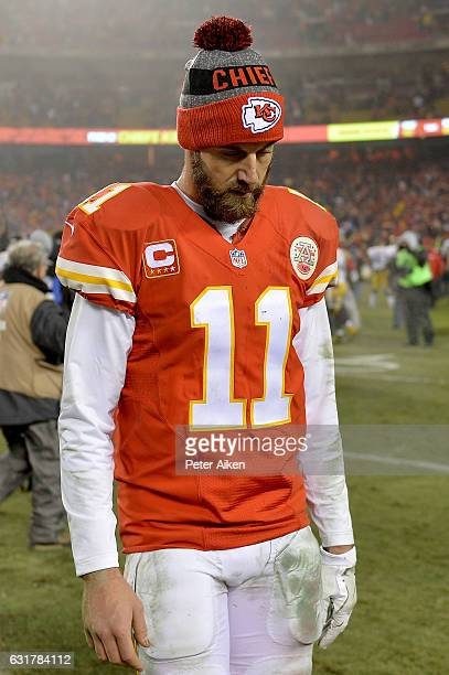 Quarterback Alex Smith of the Kansas City Chiefs walks off of the field in a losing effort against the Pittsburgh Steelers in the AFC Divisional...