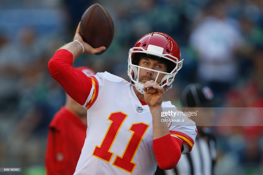 Quarterback Alex Smith #11 of the Kansas City Chiefs warms up prior to the game against the Seattle Seahawks at CenturyLink Field on August 25, 2017 in Seattle, Washington.