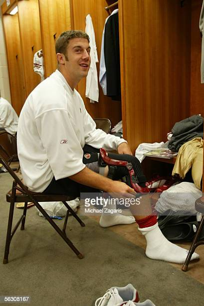 Quarterback Alex Smith of the San Francisco 49ers in the locker room before the game against the Tennessee Titans at the Coliseum in Nashville...
